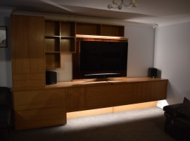 Oak media cabinet with Rosewood detailing