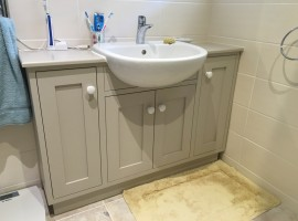 simple and stylish basin unit, finished in Elephants breath colour