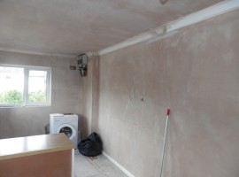 door blocked up, newly plastered walls & ceiling. New fuse board, coving and skirting